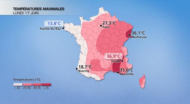 Hier : près de 25°C d'écart entre la Bretagne et l'Isère !